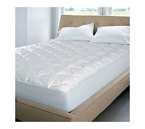 Blue Ridge Home Fashion 350 Thread Count Cotton Damask Dual Action Mattress Pad, King, White