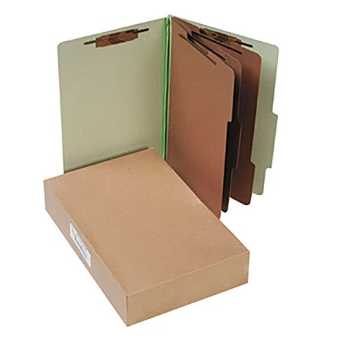 16048 8 1/2'' x 14'' Leaf Green 8-Section Pressboard Classification Folder with Prong Fasteners and 2/5 Cut Tab, Legal - 10/Box