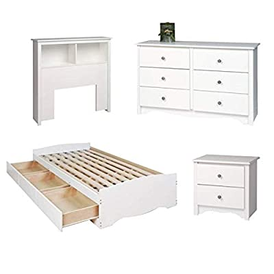 4 Piece Kids Bedroom Set with Bed, Headboard, Dresser, and Nightstand in White