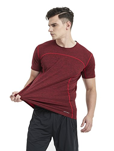 Akilex Mens Sports Short Sleeve Comfortable Dry Fit Athletic Running Shirts Top (L (Chest 36-38 inch), 3011 Red)