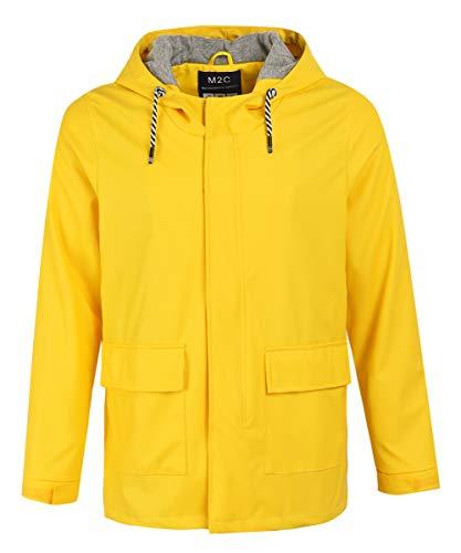 M2C Men's Cotton Lined Waterproof Rain Jacket with Hood Yellow XL