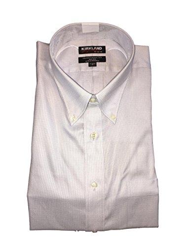 Kirkland Signature Men's Traditional Fit Button Front Long Sleeve Shirt (Silver Herringbone, XL 17-34/35)