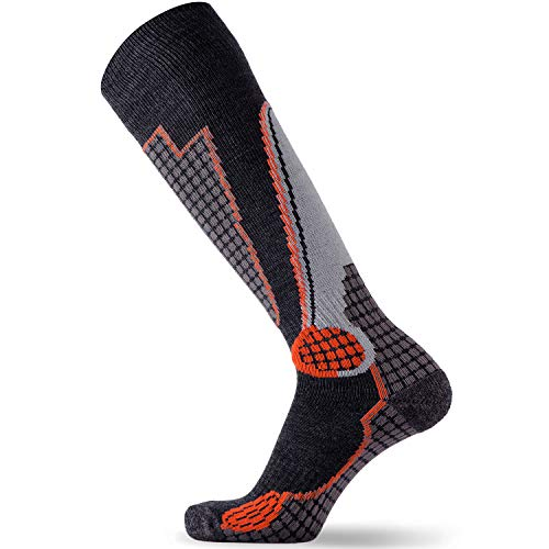 Pure Athlete High Performance Wool Ski Socks - Outdoor Wool Skiing Socks, Snowboard Socks (Black/Grey/Orange, Medium)