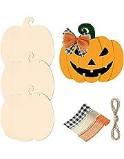 4PCS Artificial Pumpkins Wooden Pumpkin Shape Cutout Unfinished Thanksgiving Pumpkin Wooden Decorations Fall Decor DIY Blank Craft Pumpkin,Halloween Pumkin Decoration