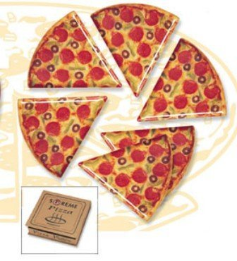 Kids Shaped Plastic Plate (Pizza Slice Plates - Set of 6)