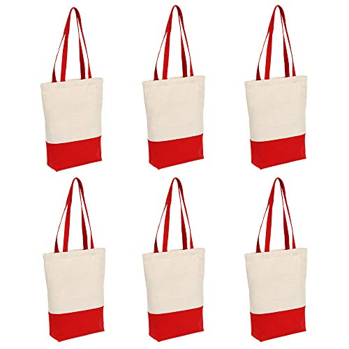Canvas Tote Bag Heavy Duty 12 oz Cotton with Bottom Gusset Grocery Beach Shopping Bag 17x14x4 Inches - 6 Pack (Red)