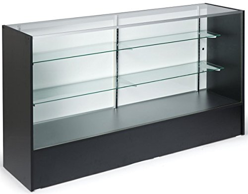 6-feet-Wide Free-Standing Glass Display Case with Height-Adjustable Shelves and Sliding Door - Anodized Aluminum Extrusions with Black Melamine Panels Counter Height Display Case
