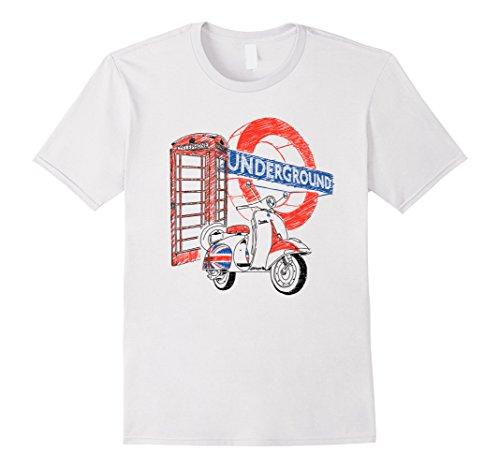 [Men's Rock & Roll T Shirts - London Underground Mod Ska Phone Box Small White] (70s Era Clothing)