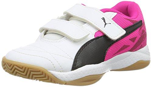 Puma Veloz Indoor Iii V Jr - Zapatillas Unisex niños Blanco - Weiß (White-Black-Pink Glo 03)