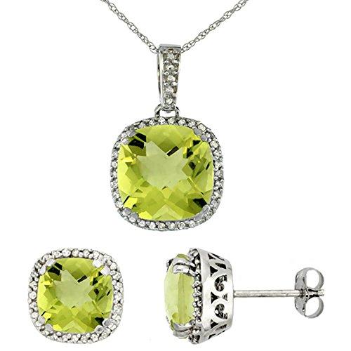Boucles d'oreilles et pendentif à quartz citron de coussin Naturel Diamant Or Blanc 9Carats Accents