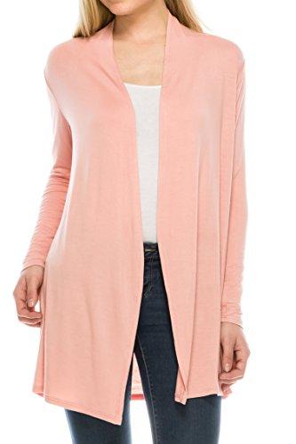 EttelLut Long Open Front Lightweight Cardigan Sweaters Regular and Plus Size Dusty Rose XXXL