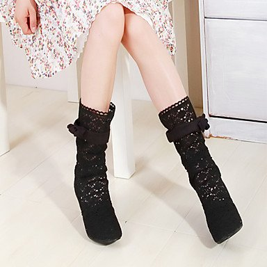 Calf Summer Boots 5 Boots Novelty Toe Office Mid Tulle Spring Fashion For Party amp; Shoes EU37 5 Boots Comfort Pointed Career 5 CN37 Stiletto Women's RTRY UK4 Heel US6 7 qawIgZU