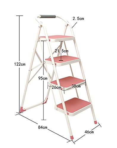 YI GAO Adult Iron 4 Step Stool Ladder with armrests and Non-Slip Pedal Folding Chair Portable Ladder/footrest/Storage Rack/Flower Stand Step Stool (Color : Pink)