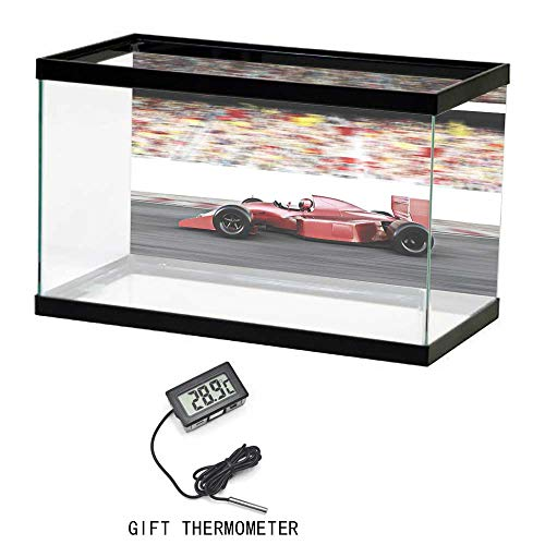 Decorative Aquarium Background Paper, Cars, Motor Sports Red Race Car Side View on a Track Leading the Pack with Motion Blur, Gray Red Black, 24
