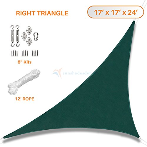 Sunshades Depot 17' x 17' x 24' Dark Green Sun Shade Sail with 8 Inch Hardware Kit - Right Triangle UV Block Durable Fabric Outdoor Canopy - Custom Size Available 24' Triangle