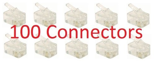 Cord Telephone Set - 100 pcs RJ9 Modular Plug (4/4, Telephone Handset Cord Connector) 4P4C