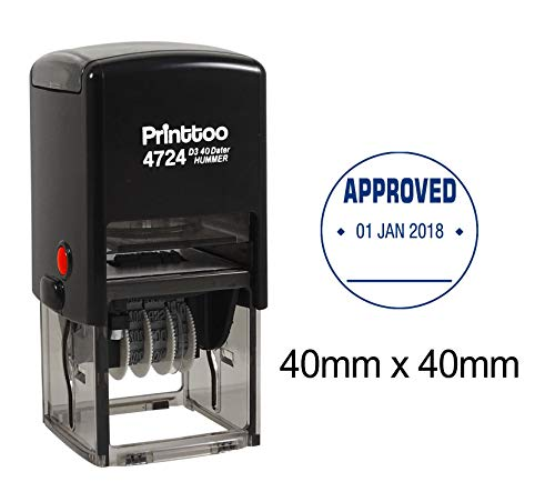 Printtoo Office Stationery Dater Stamp Self Inking with Approved Text Date Round Rubber Stamp-Blue (Stamp Custom Dater Round Inking)