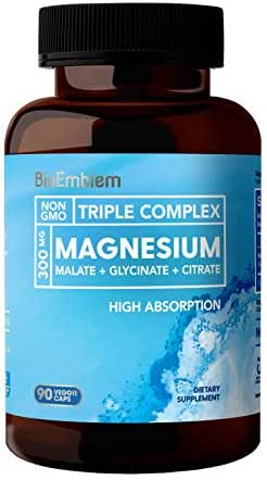 BioEmblem Triple Magnesium Complex   300mg of Magnesium Glycinate, Malate, & Citrate for Muscle Relaxation, Sleep, Stress Relief, & Energy   High Absorption   Vegan, Non-GMO   90 Capsules