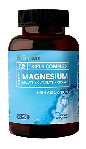 affordable BioEmblem Triple Magnesium Complex | 300mg of Magnesium Glycinate, Malate,  Citrate for Muscle Relaxation, Sleep, Stress Relief,  Energy | High Absorption | Vegan, Non-GMO | 90 Capsules