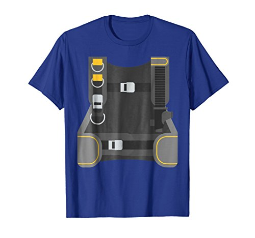 Mens Scuba Diver Costume T-Shirt Last Minute Halloween Tee Medium Royal Blue
