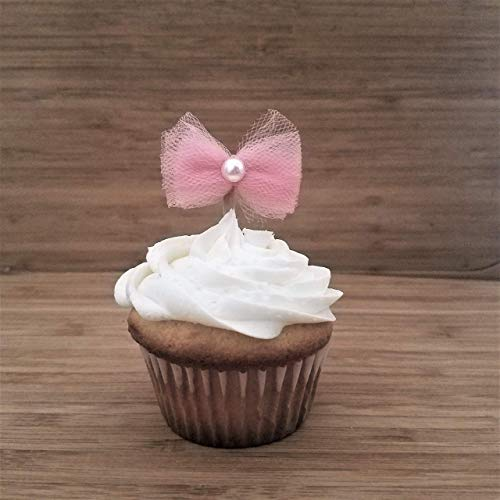 Amazoncom Its A Girl Cupcake Toppers For Baby Shower Pink Bow