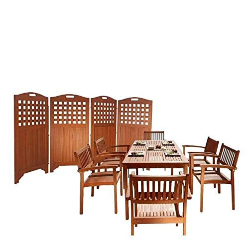 JumpingLight 8 Piece Patio Dining Set with Privacy Screen, Set of 6 Dining Chairs, and Din. Durable and Ideal for Patio and Backyard