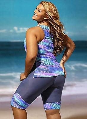 Women's Vintage Oceanic Stripe Two-Piece XL Split Swimsuit Set