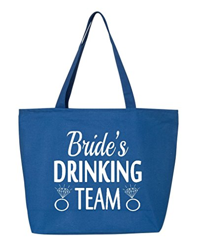 Shop4Ever Bride's Drinking Team White Heavy Canvas Tote with Zipper Wedding Reusable Shopping Bag 12 oz R Blue 3 Pack (Bride Zipper)