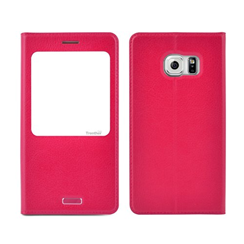 Slim Flip Cover for Samsung Galaxy S6 Edge (Hot Pink) - 8