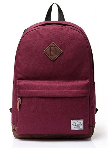 Vaschy Unisex Classic Lightweight Water-resistant Campus School Rucksack Travel BackPack Burgundy Fits 14-Inch Laptop
