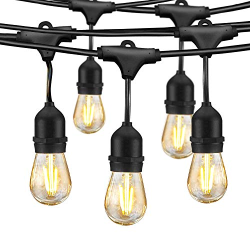 LED Outdoor String Lights, Edison Bulb String Lights, 49ft Commercial Waterproof Dimmable String Lights for Patio, 15 Hanging Sockets, 16 x 1.5W Vintage Bulbs(1 Spare)for Backyard Porch Garden (Outdoor Patio Lights String)