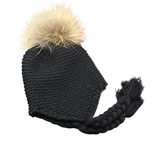 Childrens Unisex Outdoor Warm Stylish Winter Beanie Hat With Detacahable Pom Pom - Made With Real Fur - Black