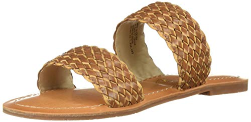 BC Footwear Women's Perfectly Crafted Woven Flat Sandal, Brown, 6.5 Medium US