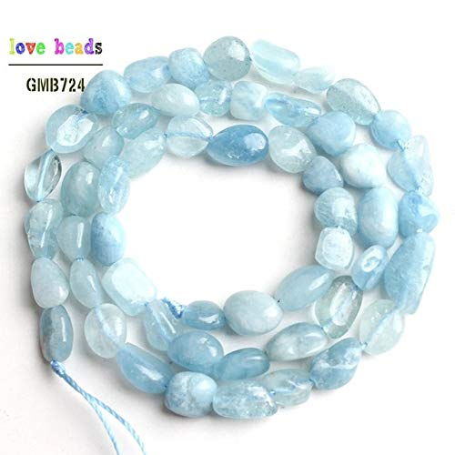 Calvas 6-8mm Natural Irregular Genuine Aquamarina Larimar Apatite Moonstone Stone Beads for Jewelry Making DIY Bracelet 15''Strand - (Color: Aquamarine) (Bracelet Aquamarine Strand)