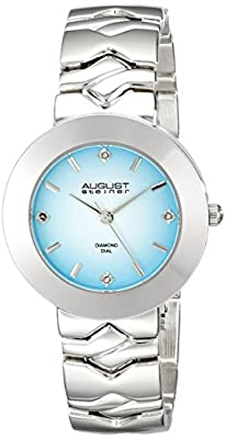 August Steiner Women's AS8157SSBU Silver Quartz Watch with Light Blue Dial and Silver Bracelet