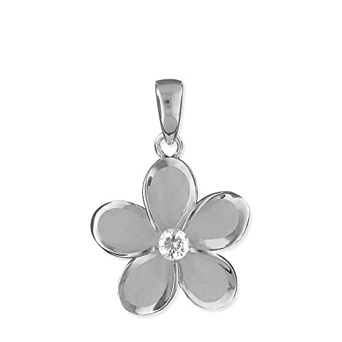15 Plumeria Mm Pendant (Rhodium Plated Sterling Silver 15mm Plumeria Pendant)