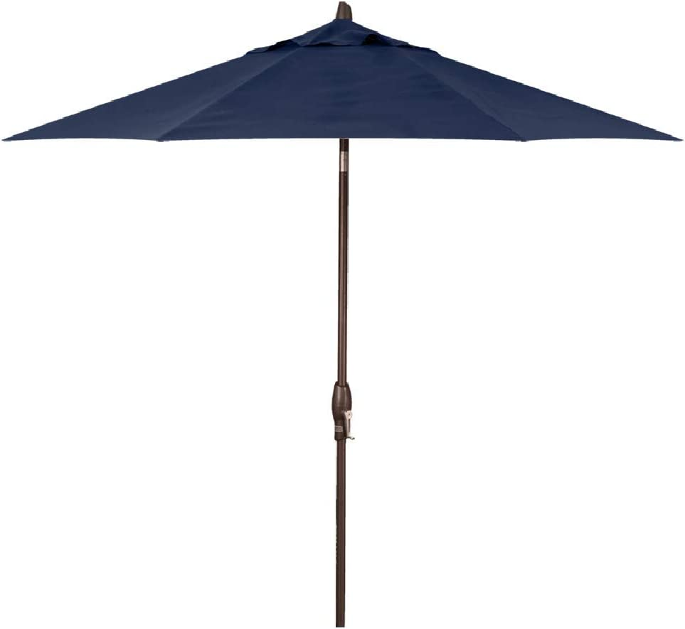 Treasure Garden 9-Foot Auto-Tilt Market Umbrella with Bronze Frame and Obravia (4 YR Fabric Warranty) Fabric: Navy
