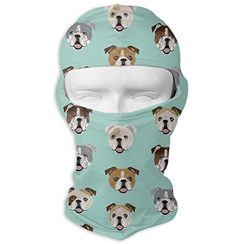 Leopoldson Stupid Funny English Bulldog Balaclava UV Protection Windproof Ski Face Masks for Cycling Outdoor Sports Full Face Mask Breathable