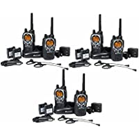 Midland GXT1000 Rechargeable Two Way Radios Walkie Talkies with Earpieces and Dual Charger (6-pack)