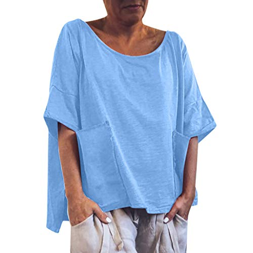 Yezijin Womens Casual O Neck T-Shirt Ladies Solid Sleeve Buckle Blouse Tops Sexy Wear 2019 Under 10 Dollars Blue