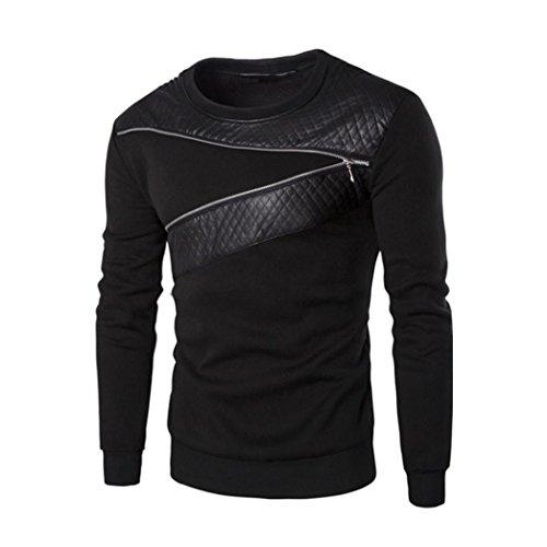 Muxika Men Winter Warm Splicing Leather Sweatshirt Coat Jacket Outwear Sweater (M, Black)