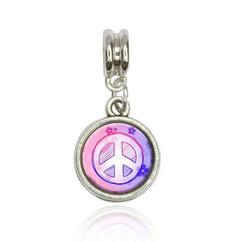 Peace Sign Flowers Pink Purple Euro European Italian Style Bracelet Bead Charm