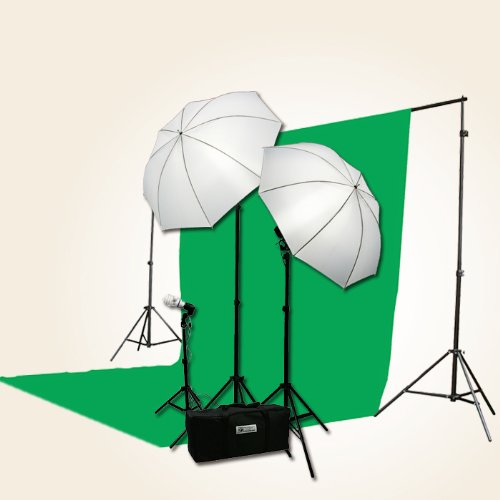 ePhoto 3 Point Chromakey Green Screen Video Lighting Kit 10 x 12ft Green Chromakey Backdrop Screen Studio Light Kit by ePhotoInc HBU3 by ePhoto