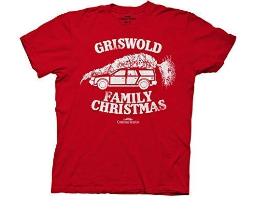 Ripple Junction National Lampoon's Christmas Vacation Adult Unisex Griswold Fam Xmas Light Weight 100% Cotton Crew T-Shirt LG Red]()