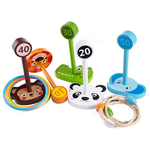 Liberry Ring Toss Game Set, Includes 10 Rings & 5 Animal Wooden Base, Suitable as Toy Gifts, Family Games, Indoor & Outdoor Games, Great for Kids & Adults, Boys & Girls]()