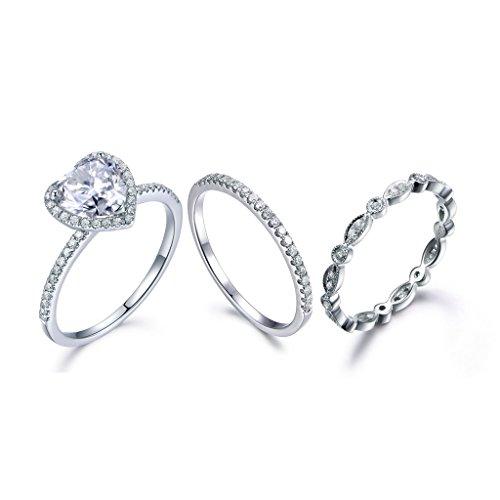 3 Solid 14k White Gold Bridal Rings Set,7.5mm Heart Shaped Moissanite Halo Ring Diamond Matching (Baguette Diamond Case)
