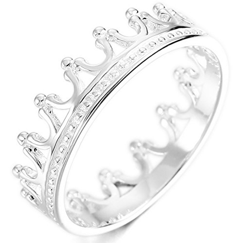 INBLUE Women's 925 Sterling Silver Band Ring Silver Tone Crown Wedding Promise Size8