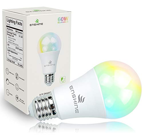 Wifi Smart Light Bulbs, Multicolored, Dimmable, Compatible with Amazon Alexa, Echo and Google Assistant, Enshine A19 10W ( 60W Equivalent ) E26 Color Changing LED Bulb, No Hub Required (1 Pack)