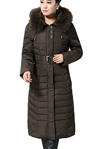 Bininbox Pour Fourrure En Col Fourrure Veste Avec ® Luxe Armeegrün Matelassée Vert Ceinture Long Manteau Facile Femme Chaud Doudoune r1zrvqE