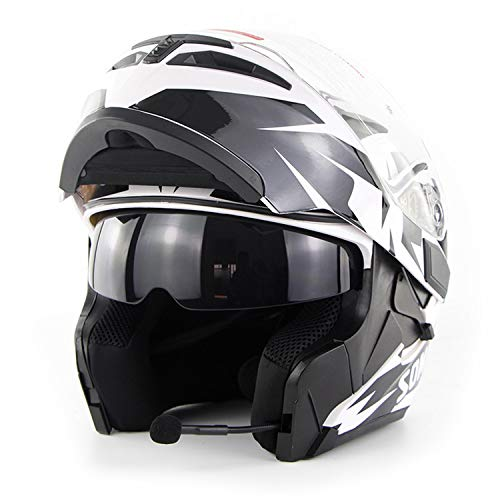 - FlyingBoy Bluetooth Helmet Communication System, Flip Double-Sided Awning Motorcycle Full Face Helmet DOT Certified Bluetooth Modular Helmet Motorcycle/Cross Country/Snowmobile/ATV, White,XL